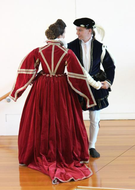 Katherine dancing with David, in renaissance costume (photo: N.J.Haliday)