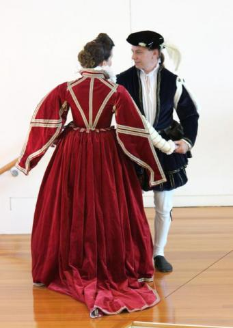 Katherine dancing with David, in renaissance costume (photo: N.J.Haliday)